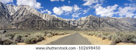 Road to Mount Whitney, Lone Pine, Sierras, California - stock photo