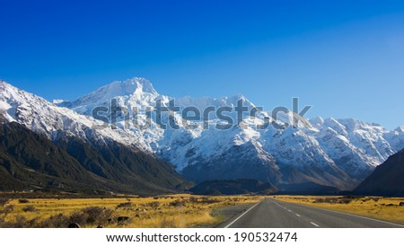 Road to mountain, New Zea-land traveling in winter - stock photo