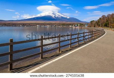 Road to Mt.Fuji at Lake Yamanaka, Yamanashi, Japan - stock photo