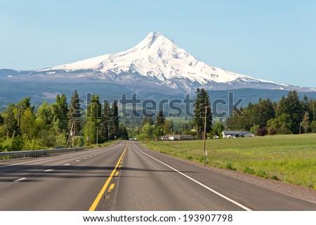 Road to Mt. Hood Oregon - stock photo