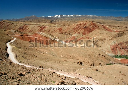 Road to nowhere, Atlas Mountains in Morocco - stock photo