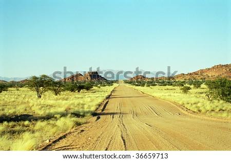 Road to nowhere, Damaraland, Namibia - stock photo