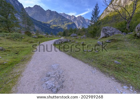 Road to Obersee, Berchtesgaden national park - Bavaria Germany - stock photo