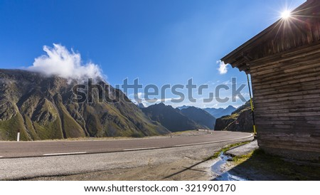 road to pass Timmelsjoch in Italy  - stock photo