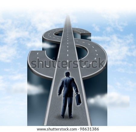 Road to riches as a business man entrepreneur starting on a path shaped as a dollar sign as a financial concept of wealth and financial success on a cloudy sky with planning and savings strategy.