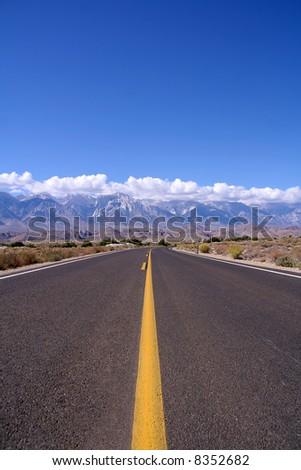 Road to Sierra Mountains, California - stock photo