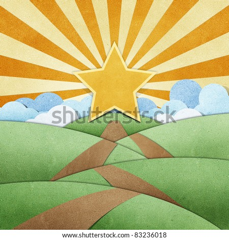 road to star  recycled paper craft background - stock photo