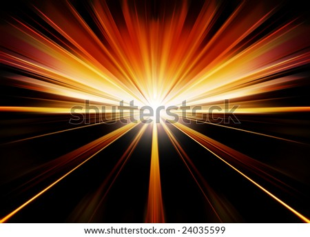 Road to sunset, abstract illustration - stock photo