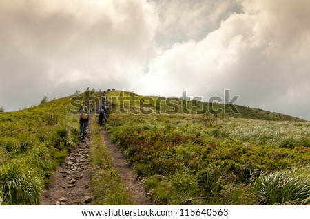 Road to the Broad Peak and Tarnica. Bieszczady Mountains. Poland