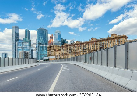 Road to the business city center. Moscow. Russia. - stock photo