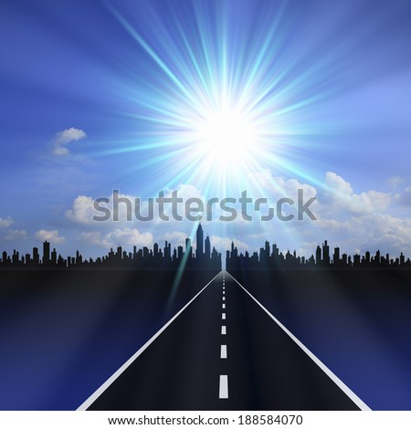 Road to the city - stock photo