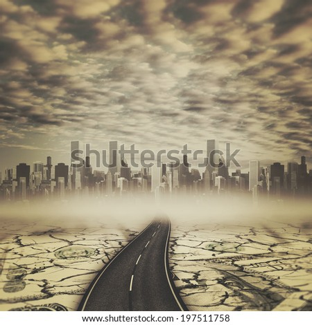Road to the devils city, abstract backgrounds - stock photo