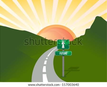 road to the future. landscape background illustration design