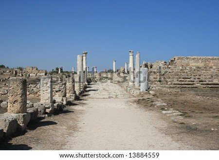 Road to the history - the ruins of town Salamis in Northern Cyprus - stock photo
