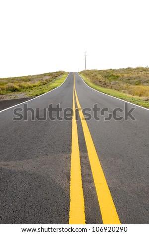 Road to the horizon on white - stock photo
