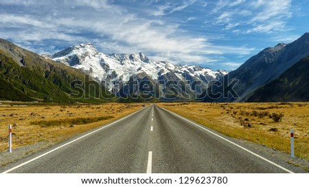 Road to the Mountains - stock photo