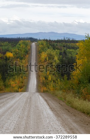 Road to the north of Alaska - stock photo