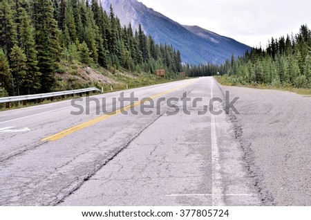 Road to the Rocky mountains at Banff national park Canada - stock photo