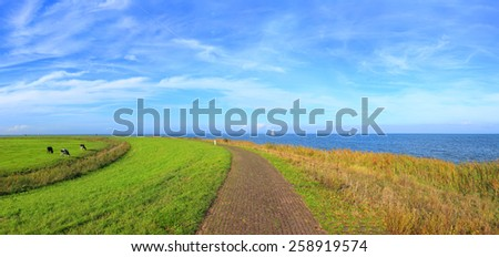 Road to the sea. Dutch meadow landscape. Cobblestone road through green meadows. Netherlands. Panoramic view. - stock photo