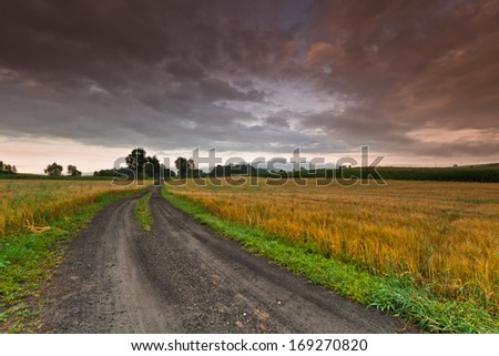 Road to the storm - stock photo