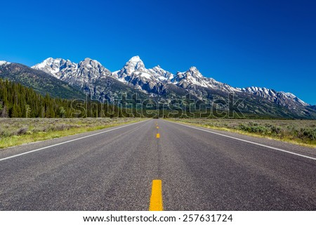 Road to the Tetons - stock photo