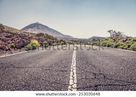 road to the volcano Teide  - stock photo