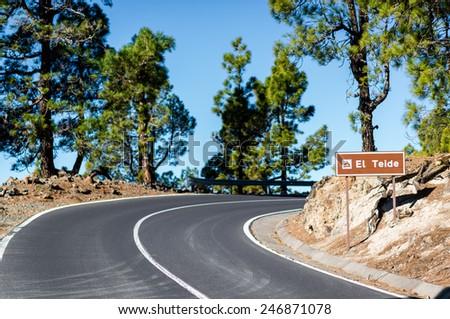 Road to Volcano Teide at Tenerife, Canary Islands. Spain - stock photo