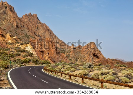 Road to volcano Teide at Tenerife island.