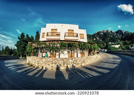 Road to Zia at sunset, Kos Island, Greece. - stock photo