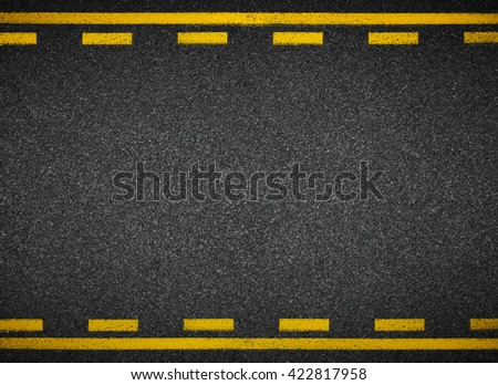 Road top view. Asphalt highway yellow line marks. - stock photo