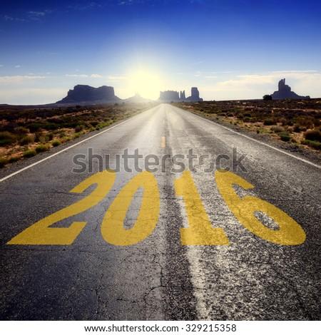 Road towards New Year 2016 - stock photo