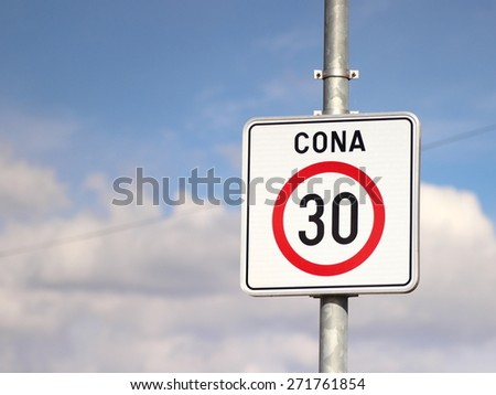 Road traffic sign 30 - stock photo