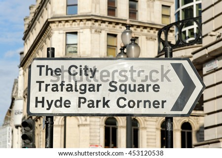 Road traffic sign of the direction of landmarks in Central London, England. - stock photo