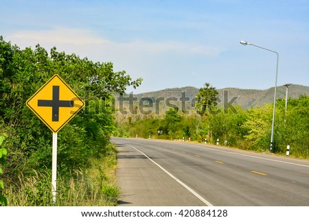 Road Traffic Sign on the road at country side - stock photo