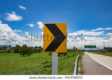 Road Traffic Sign on the road at country side