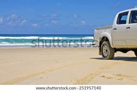 Road Trip, Fraser Island - stock photo