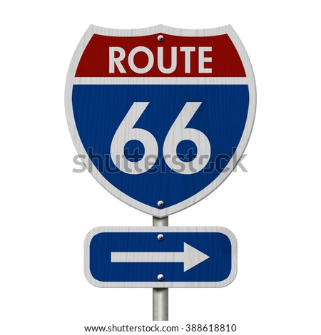Road Trip USA, Red, White and Blue American Route 66 Highway Sign isolated on white