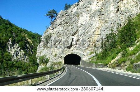 Road tunnel - stock photo