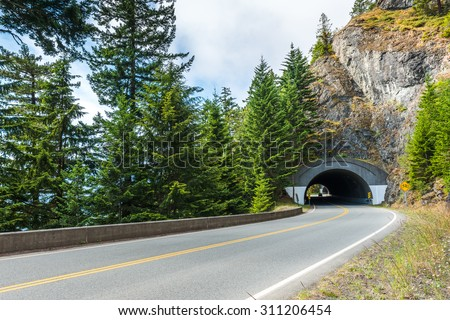 Road Tunnel - Mountain Tunnel in Olympic national park,Washington State.Usa