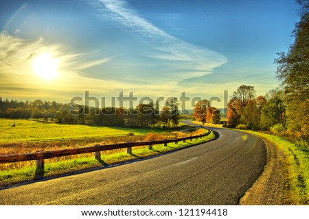 Road turn - stock photo