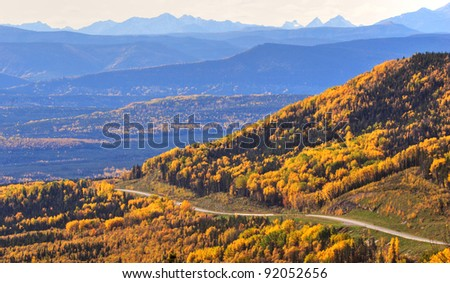 Road view of the Rocky Mountains