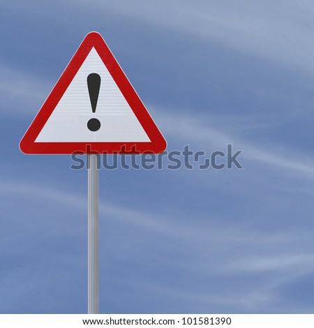 Road warning sign with an exclamation point - stock photo
