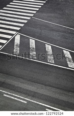 Road White Marks in Airport Runway - stock photo