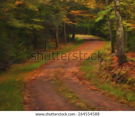 Road Winding Through the Woods in the Fall - stock photo
