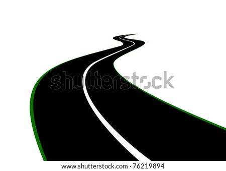 Road with a dividing strip receding into the distance beyond the horizon - stock photo