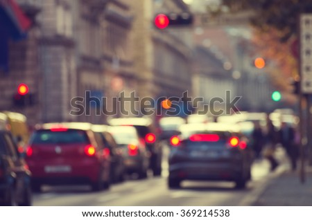 Road with cars in traffic rush - stock photo
