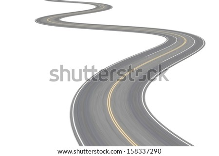 Road with double yellow stripe. 3d illustration - stock photo
