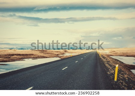 Road with snow - stock photo