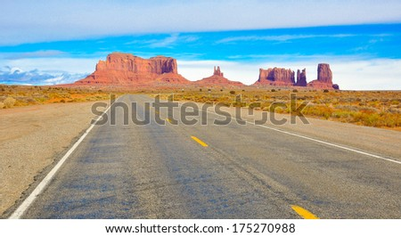 Road with view of Monument Valley, Utah - stock photo