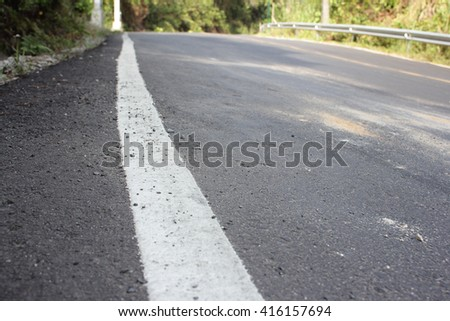 Road With White Route close-up